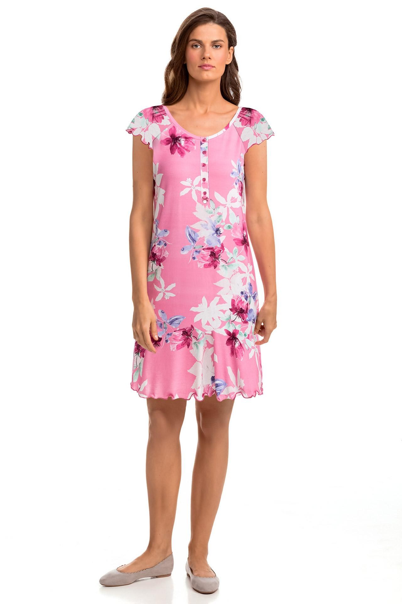 Floral Nightgown with Button Placket