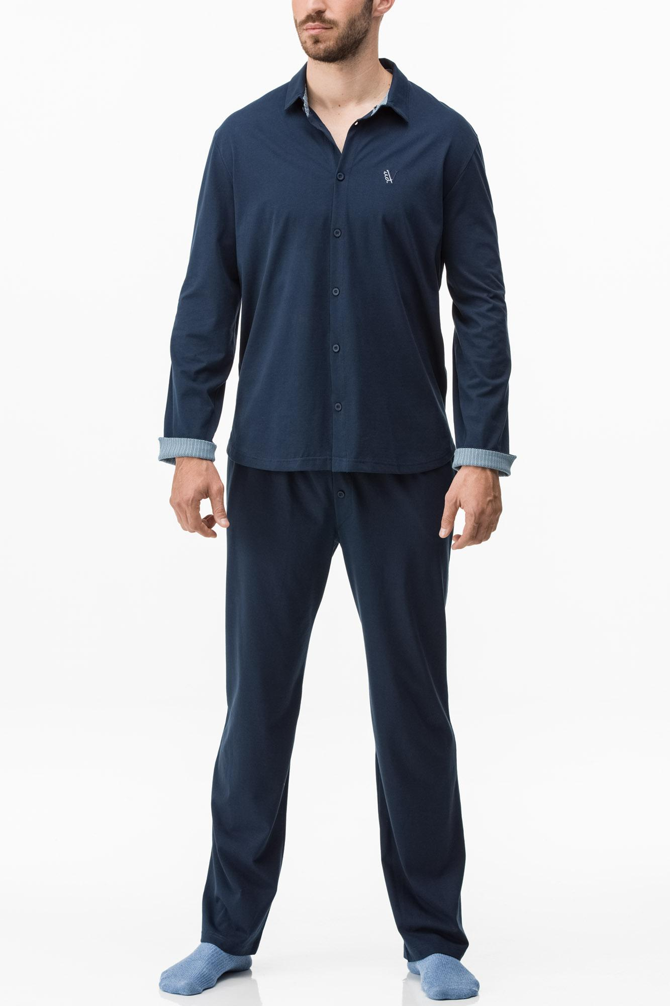 Men's Plain Buttoned Pyjamas Plus Sizes