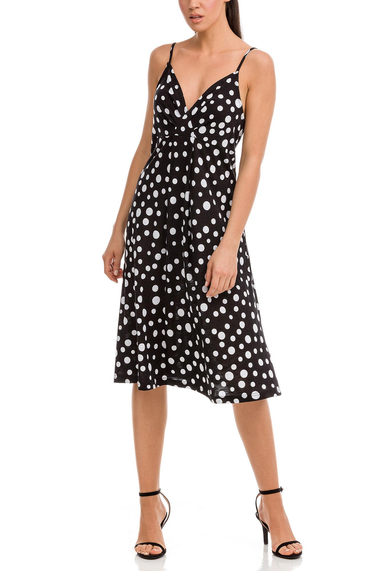 Polka Dot Dress with Deep V-Neck