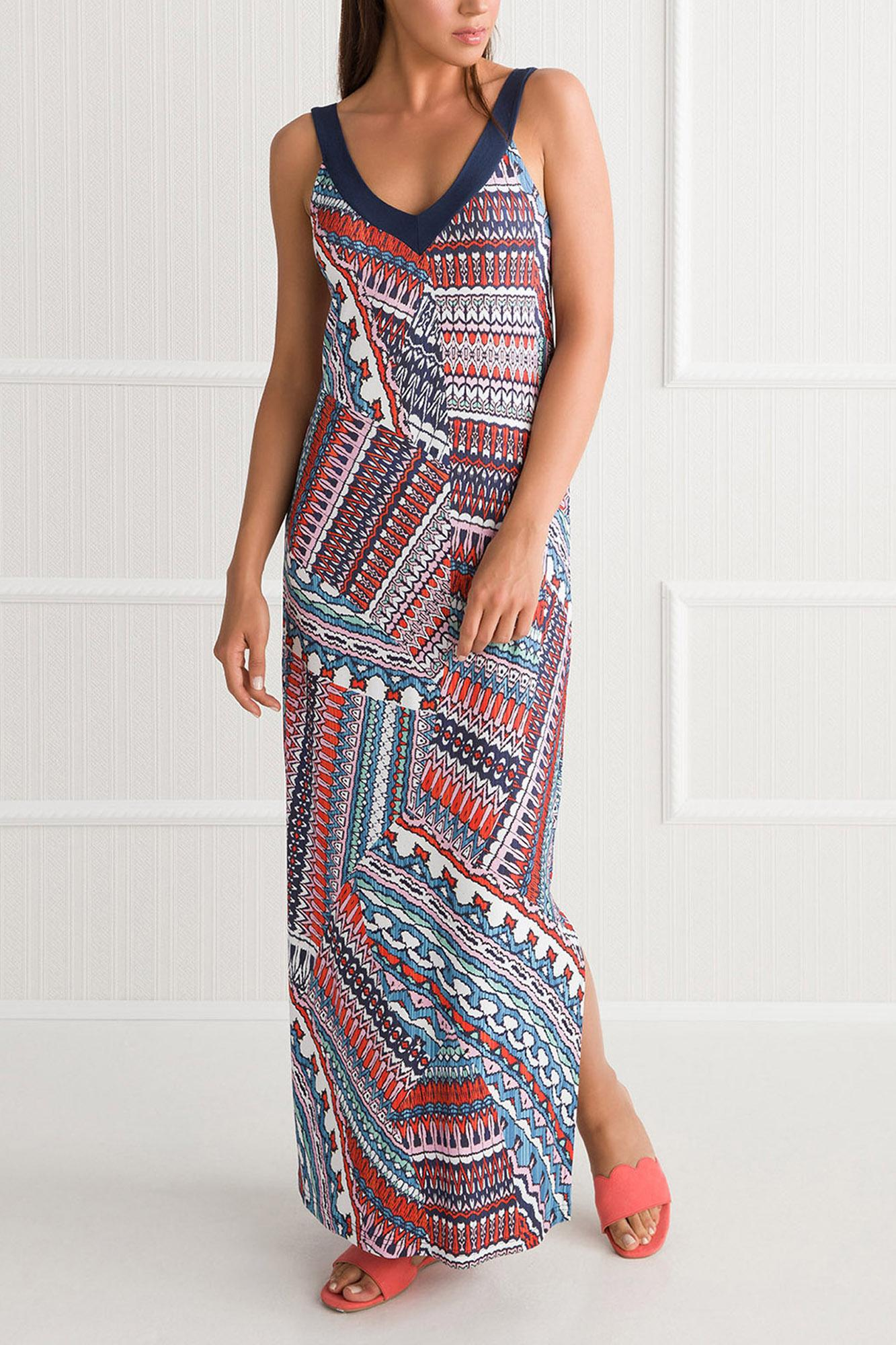Long Ethnic Print Caftan