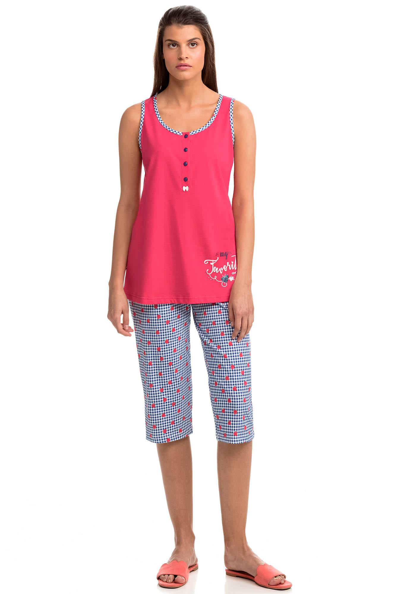 Women's Sleeveless Pyjamas with Capri Pants