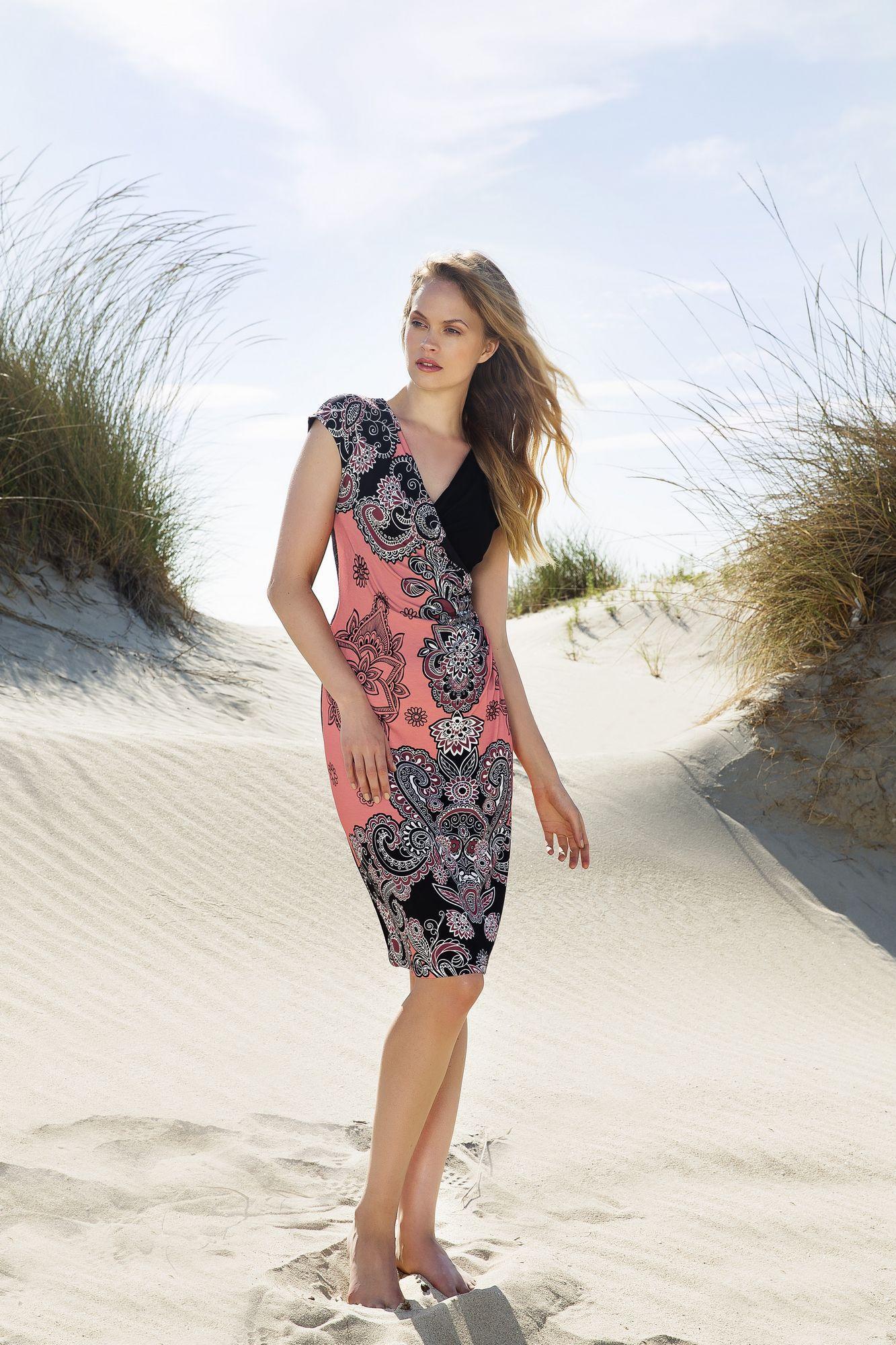 Print Dress with V-neck