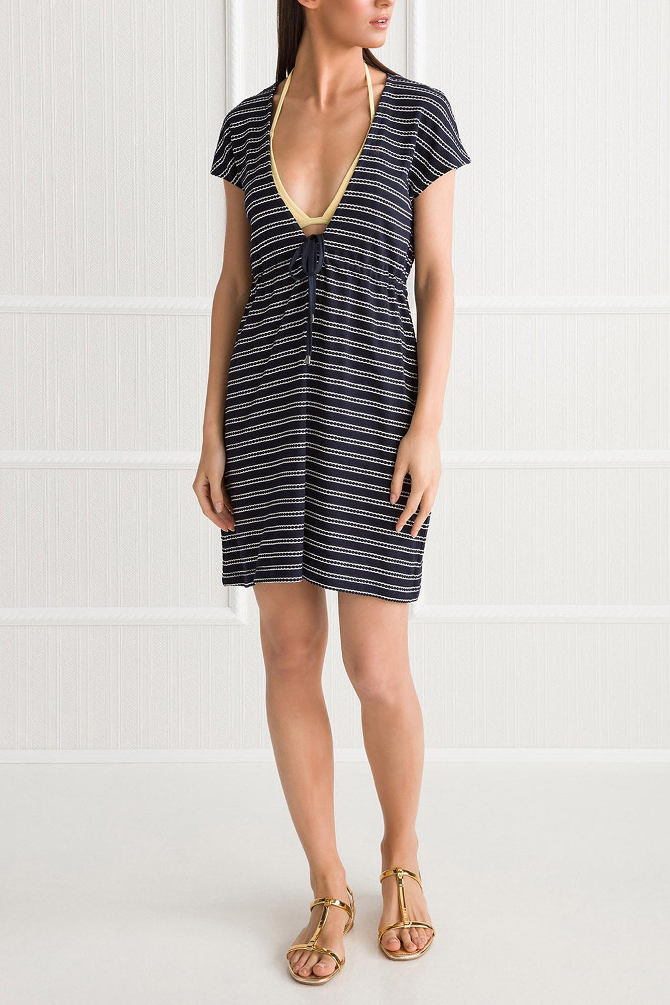Striped Beach Dress with Deep V-neck