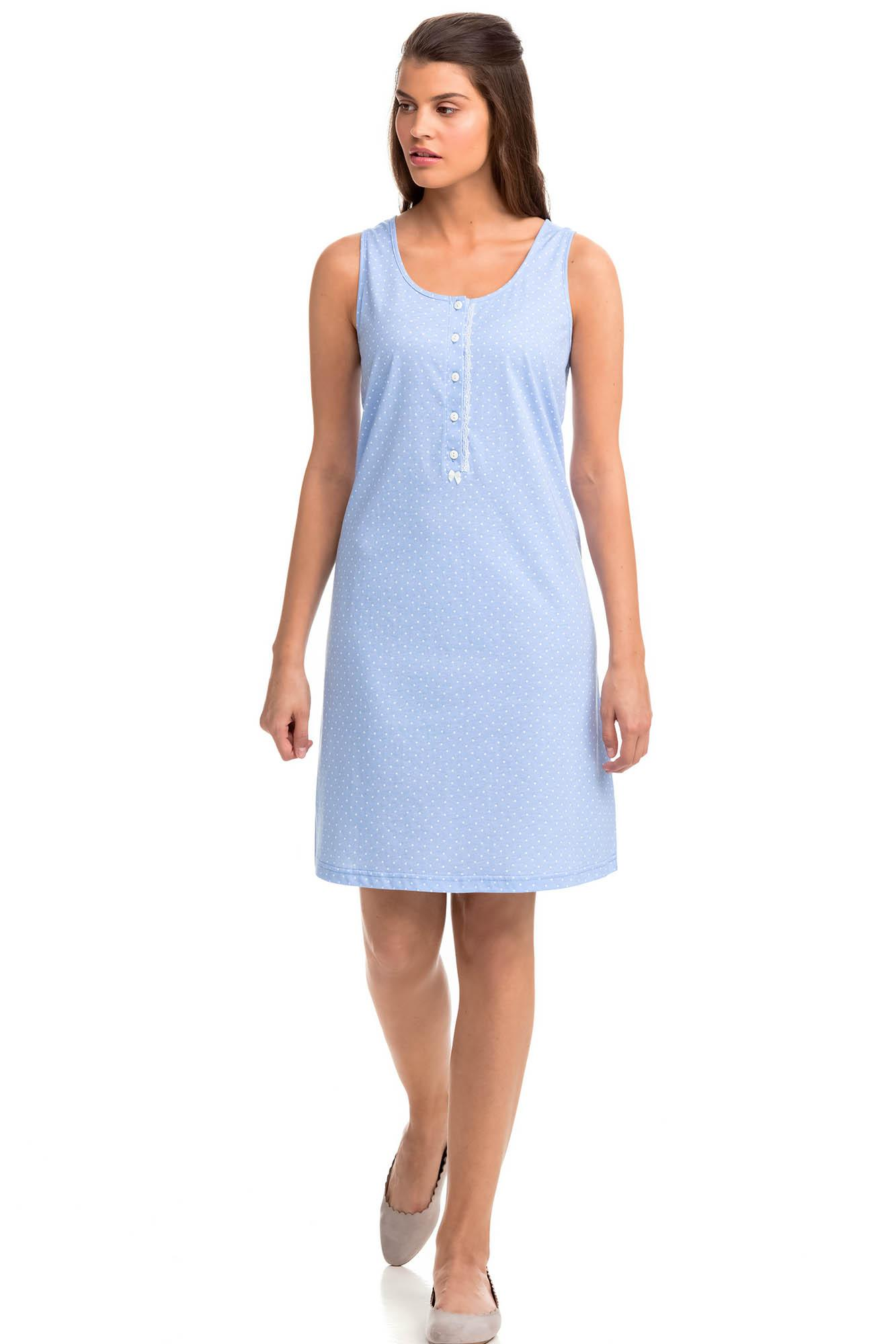 Sleeveless Polka Dot Nightgown with Buttons
