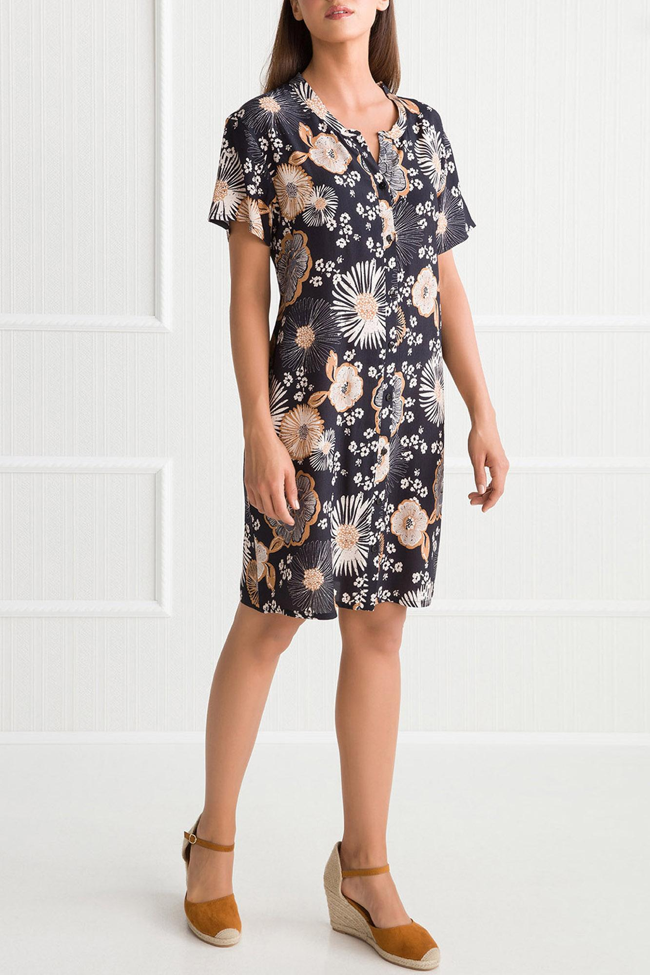 Dark Printed Buttoned Dress