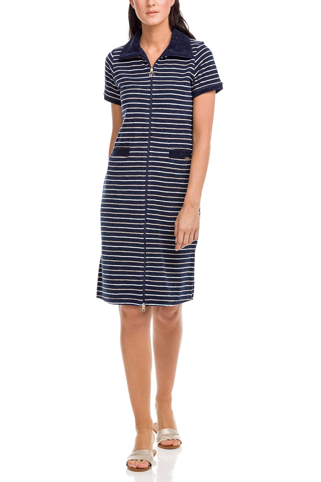 Zipped Frottee Striped Dress Plus Size