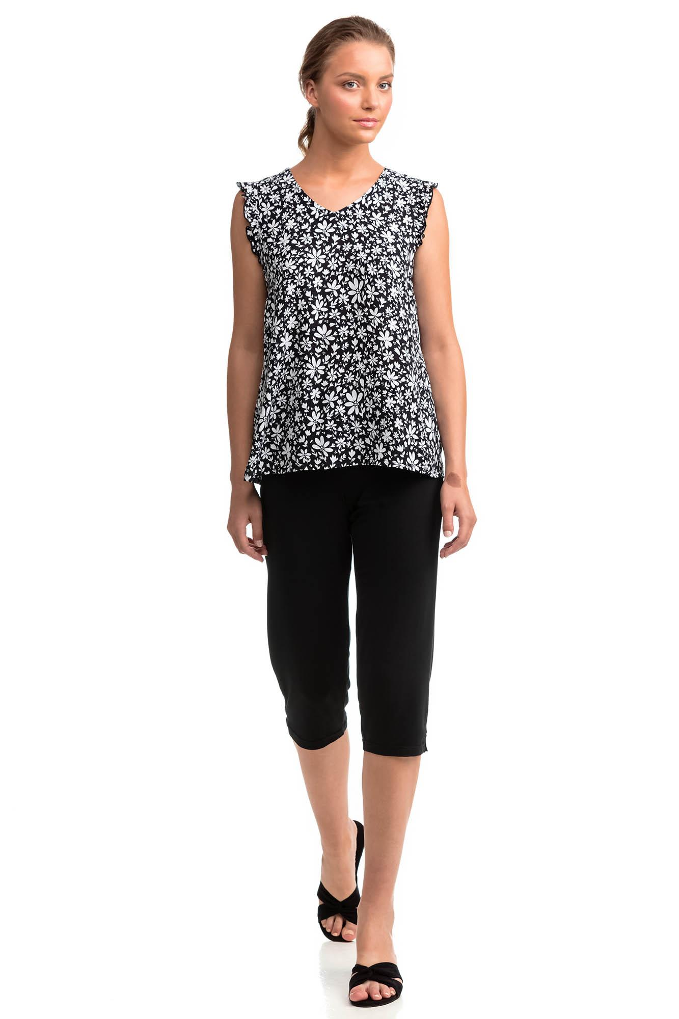 Women's Floral Top and Capri Pants Set
