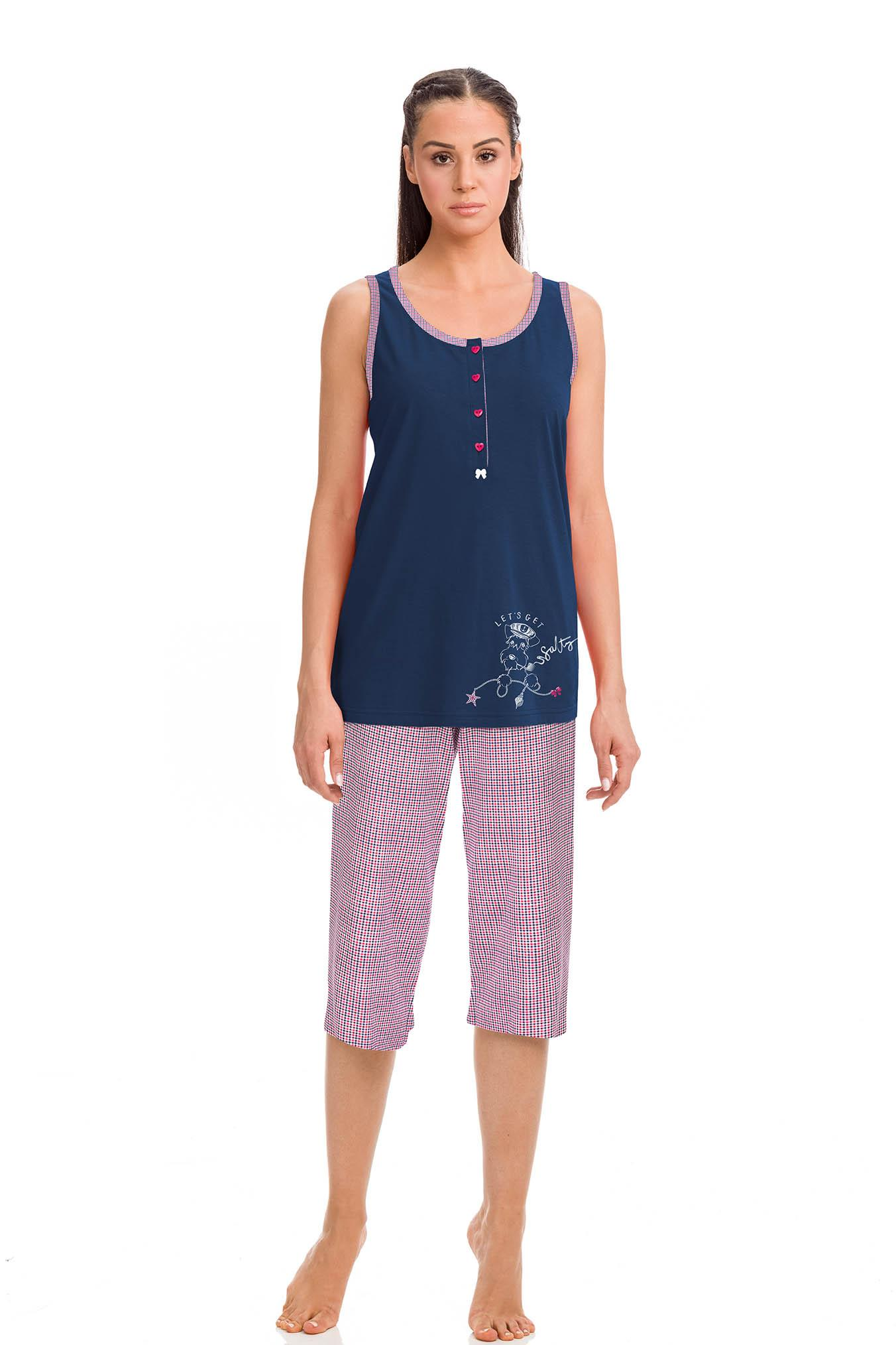 Women's Sleeveless Pyjamas with Capri Pants Women's pyjamas with button placket on the front for easy nursing and capri pants. Lightweight feel and soft fabric with composition 100% S. Jersey Cotton.