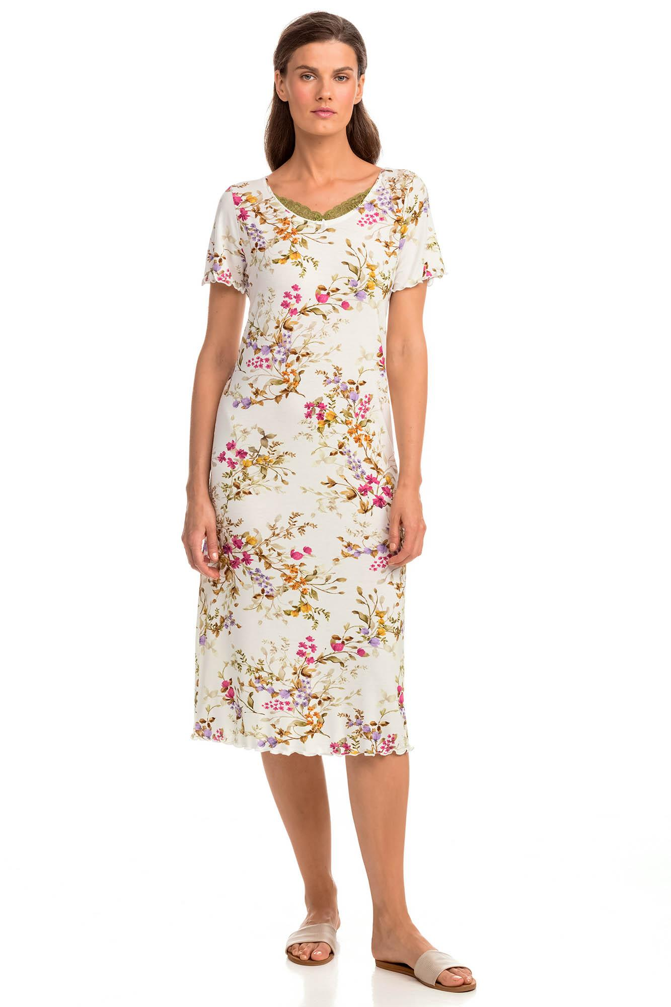 Floral Nightgown with Lace Details