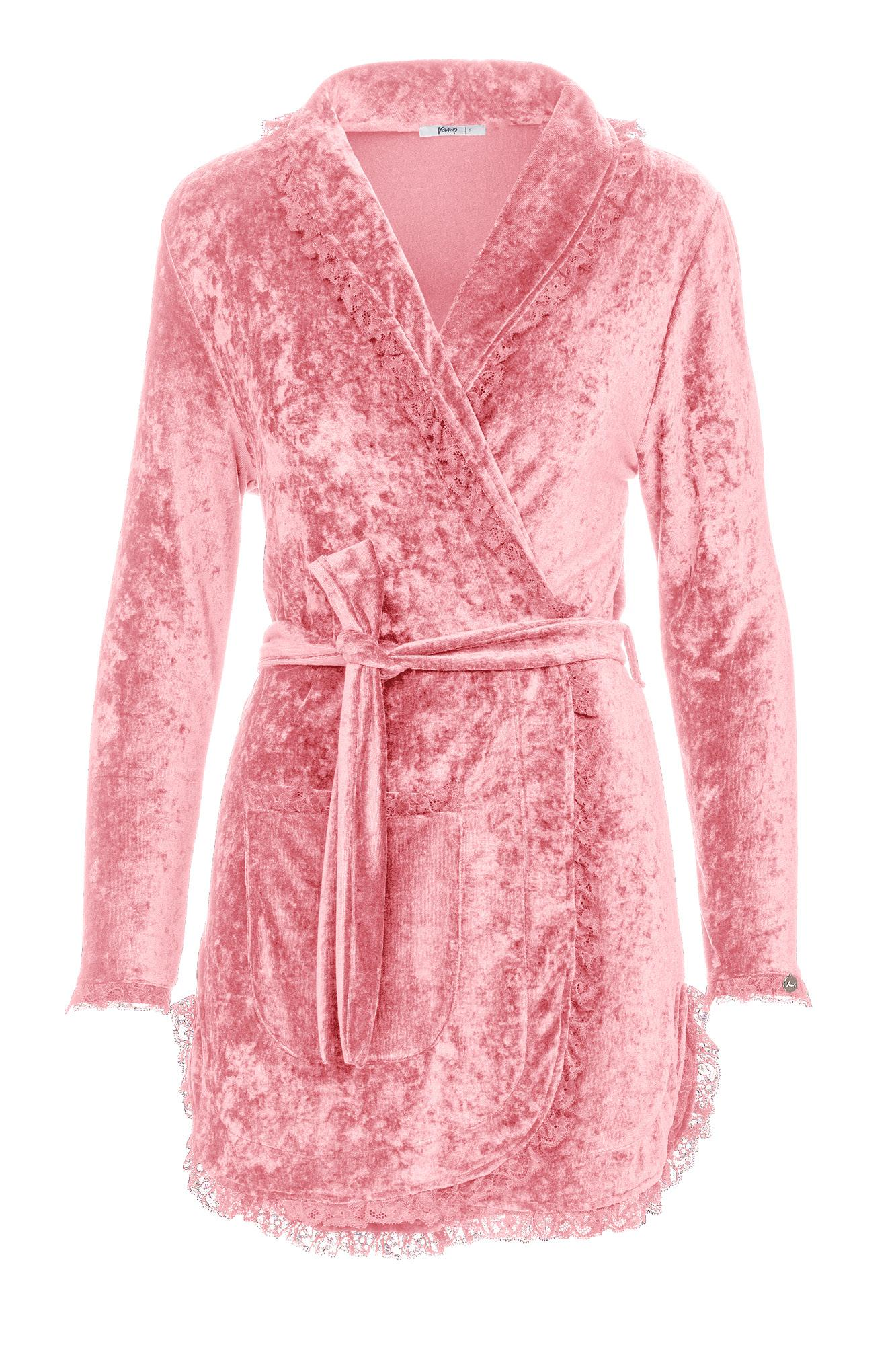 Women's Velour Robe with Lace Details