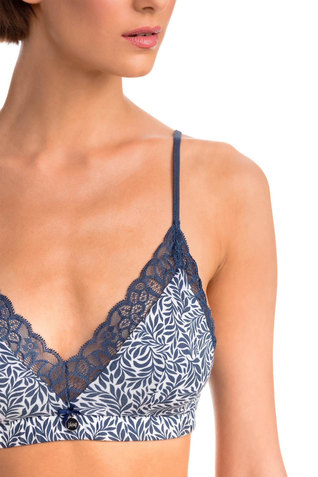 Print Bralette with Lace Details