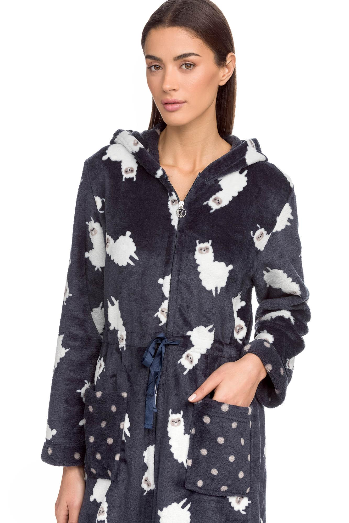 "Women's Fleece Zipped Robe ""Lama"""