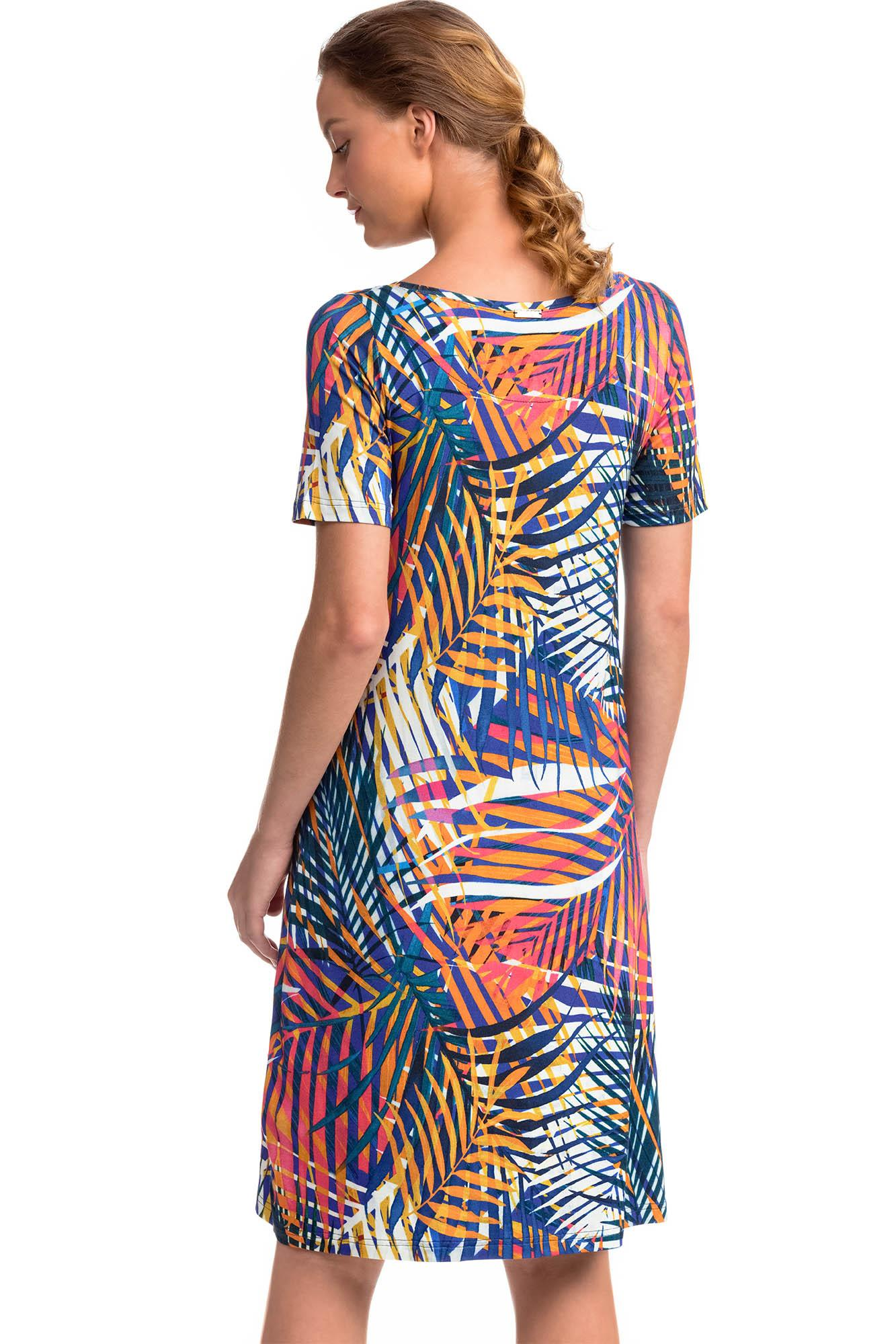 Tropical Short-Sleeved Dress