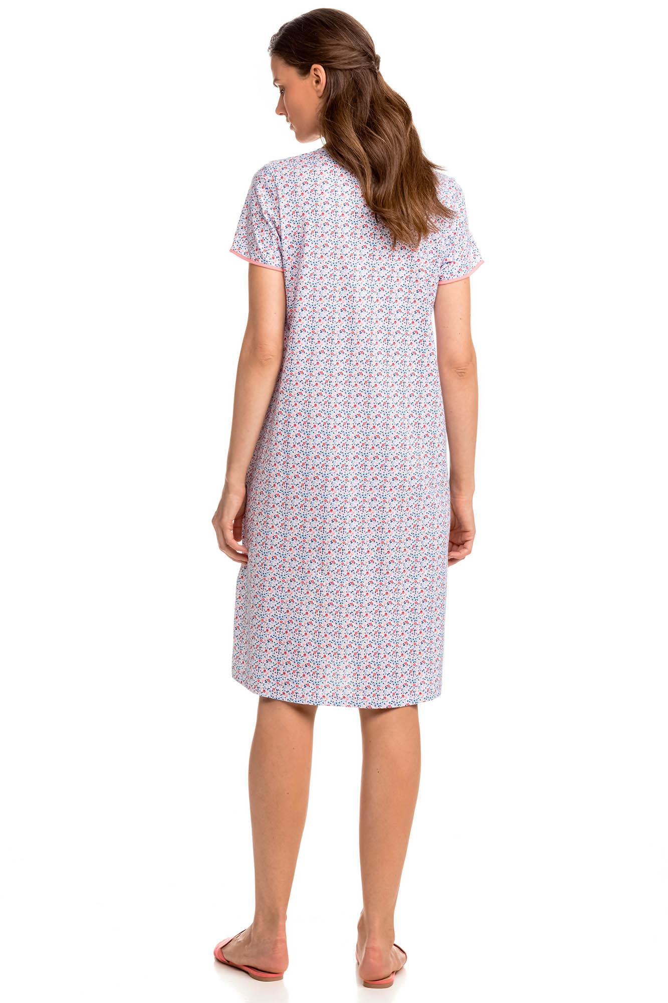 Print Nightgown with Buttons