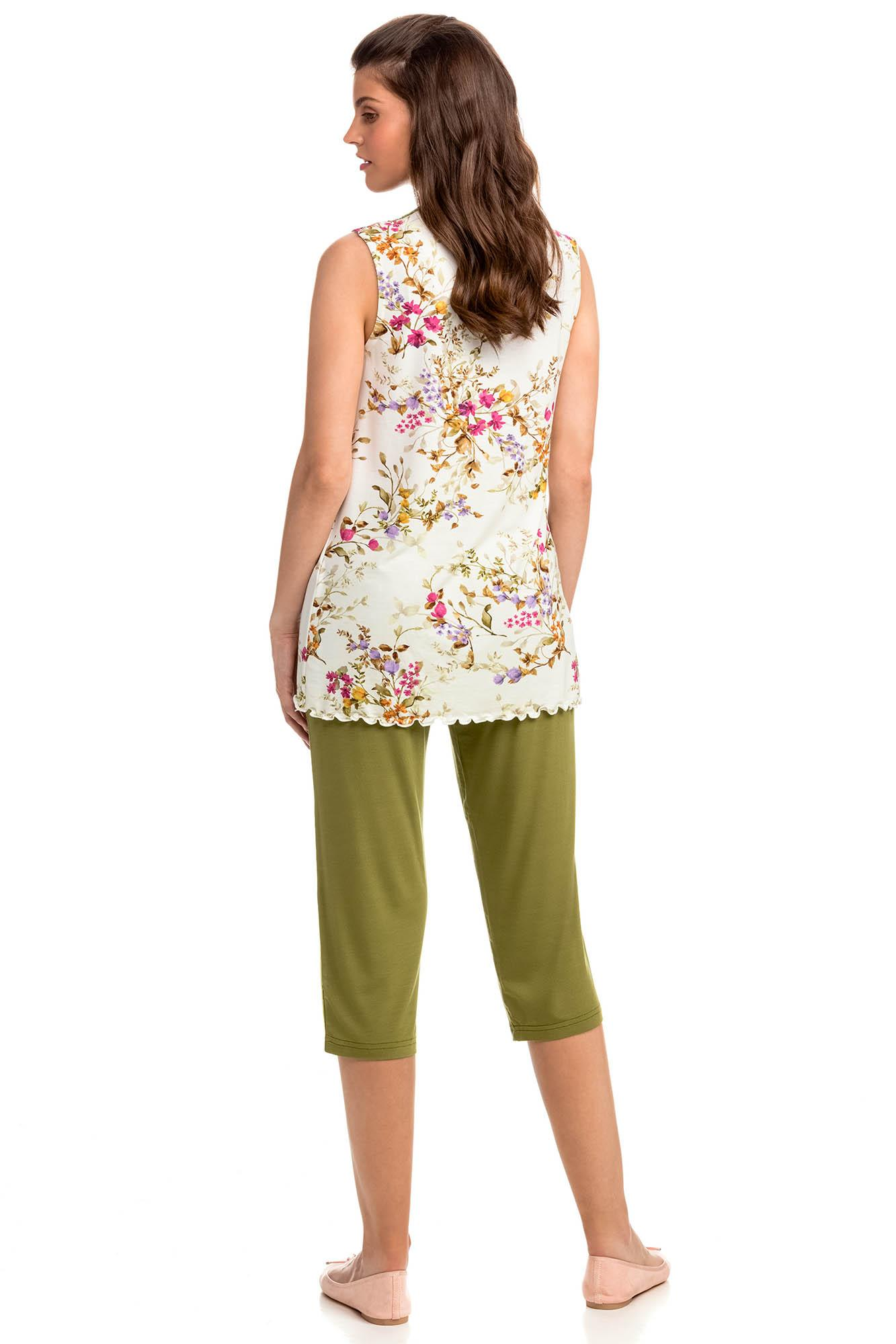Women's Sleeveless Pyjamas with Button Placket