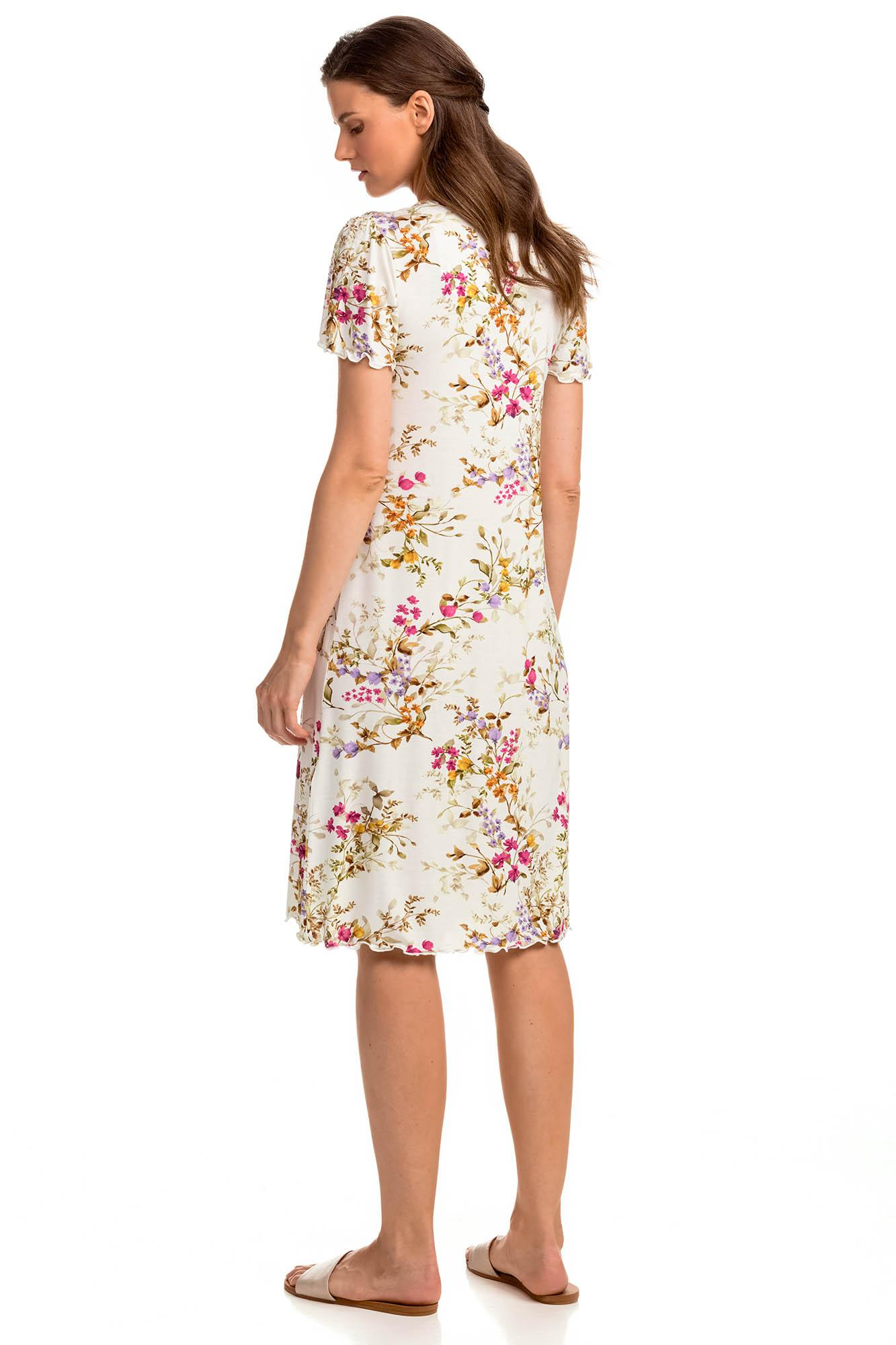 Women's Floral Nightgown with Buttons