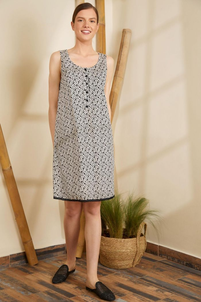 Sleeveless Printed Nightgown with Buttons