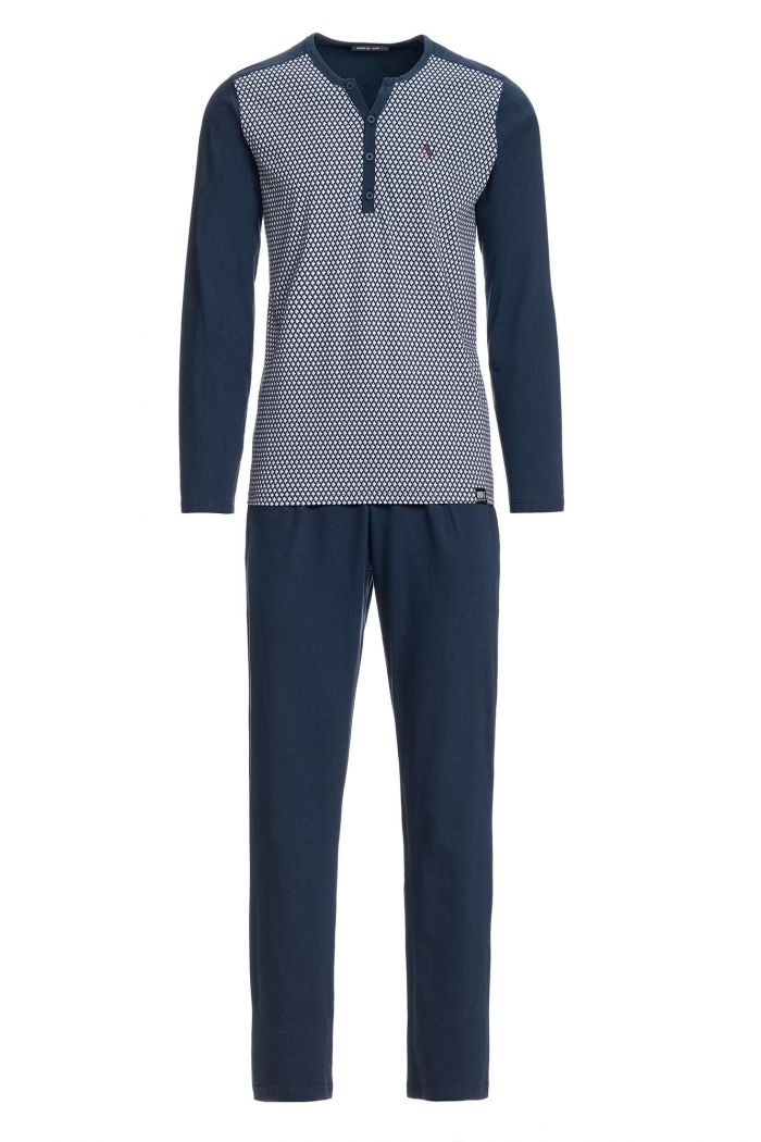 Men's Patterned Pyjamas with Button Placket
