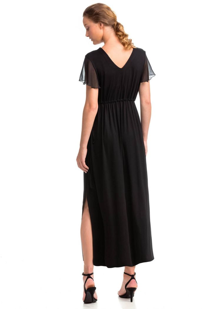 Maxi Dress with Chiffon Sleeves