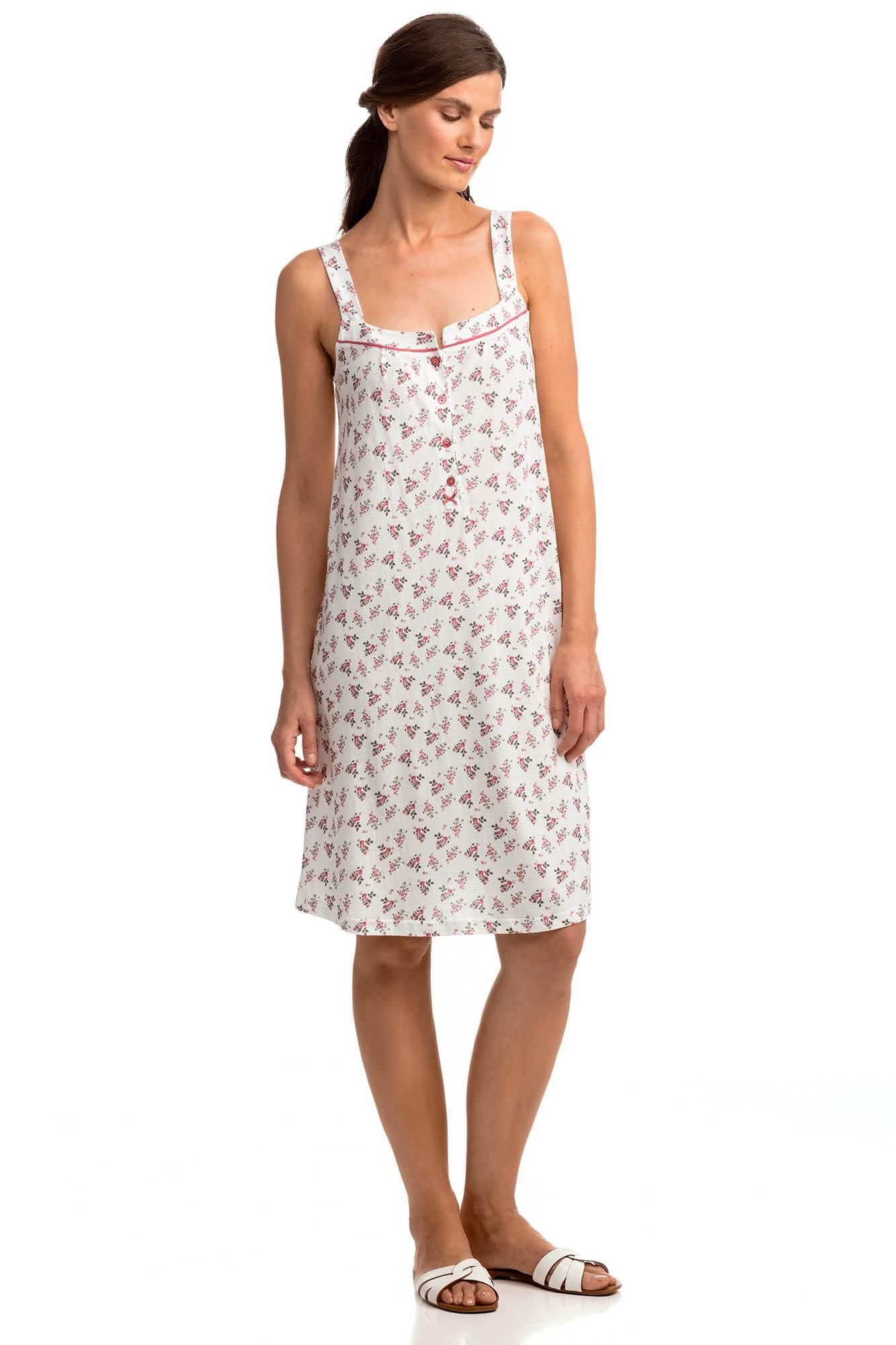 Sleeveless Floral Nightgown with Buttons