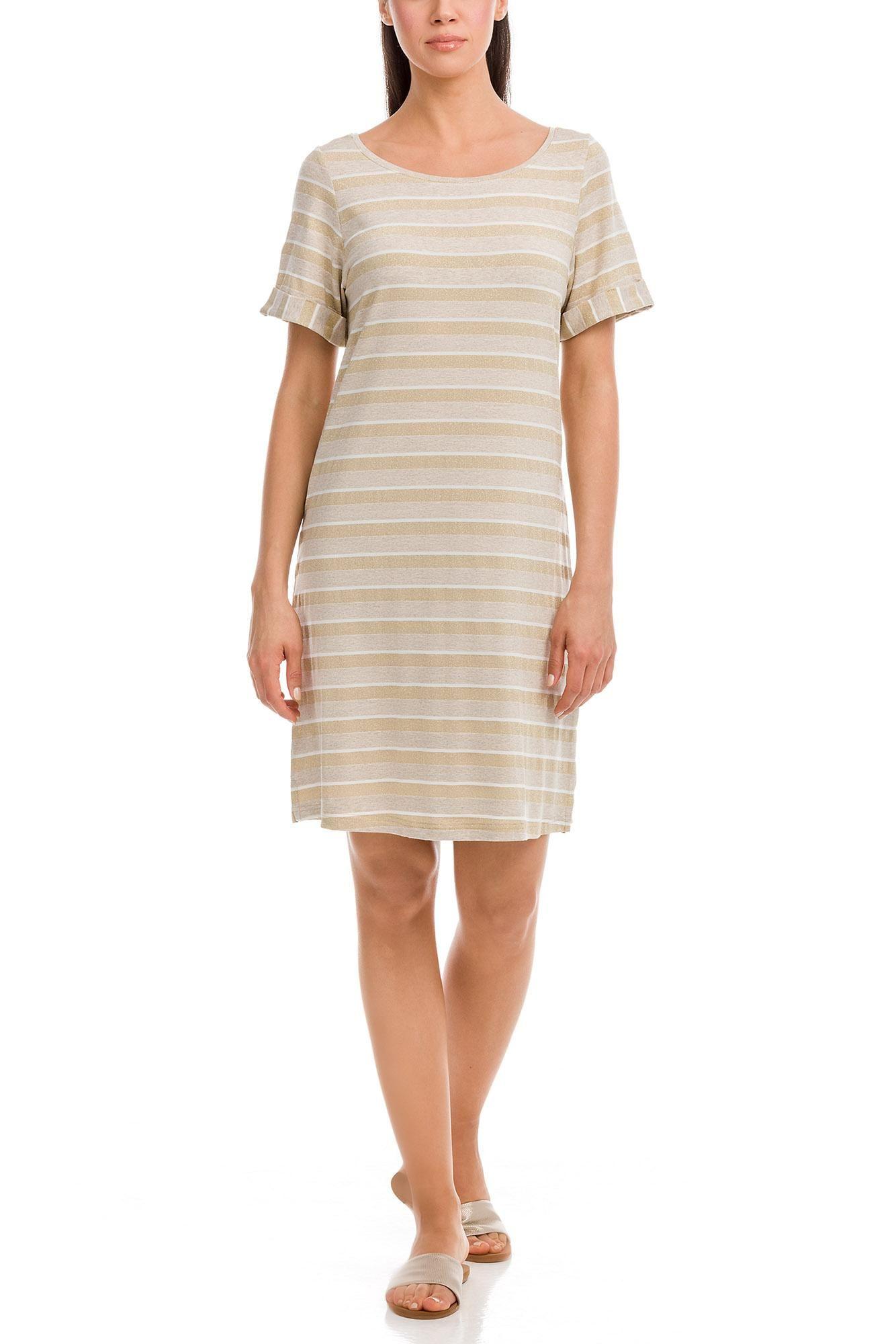 Κοντομάνικο Φόρεμα Ριγέ Χρυσό