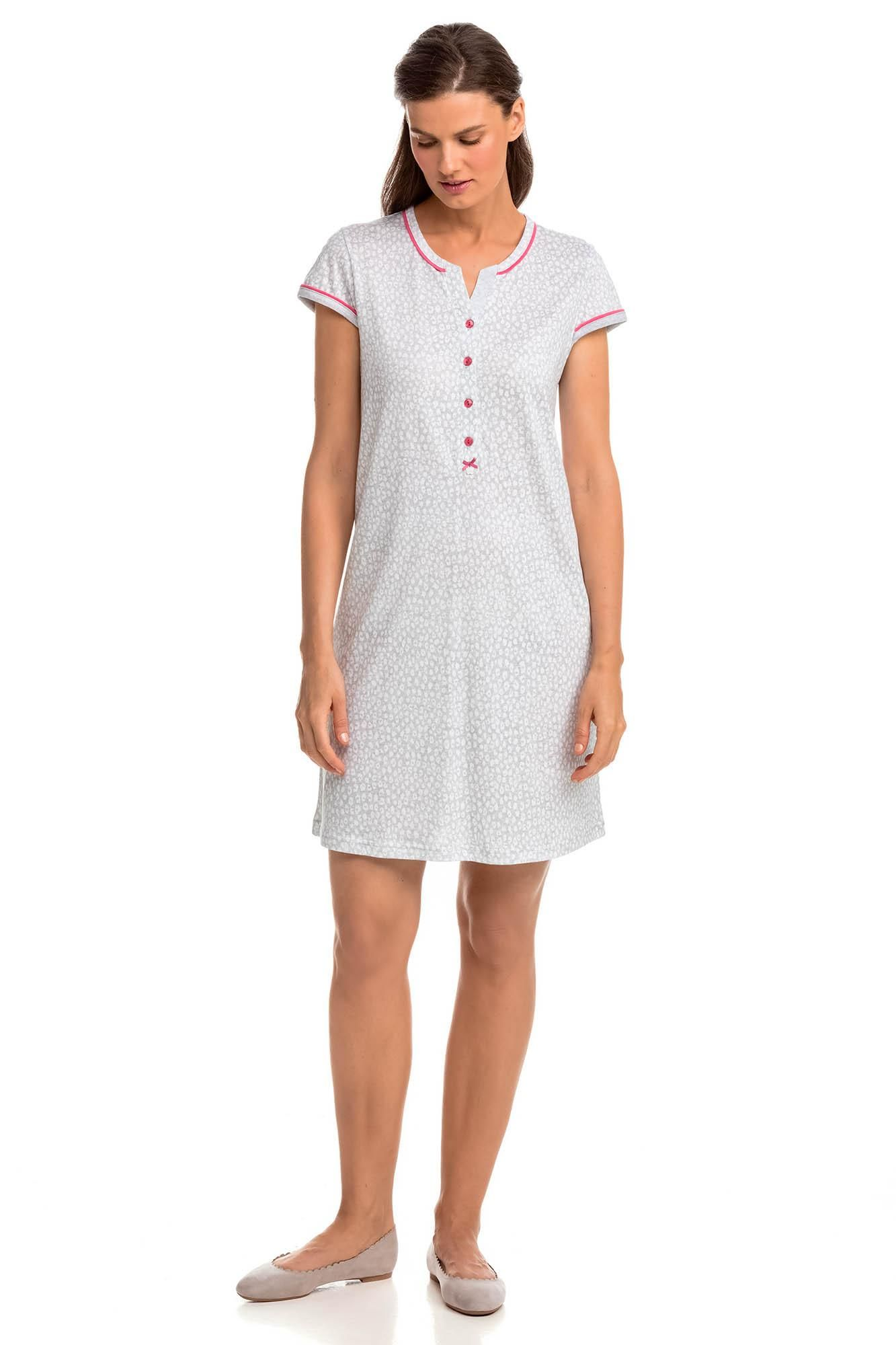 Print Nightgown with Button Placket