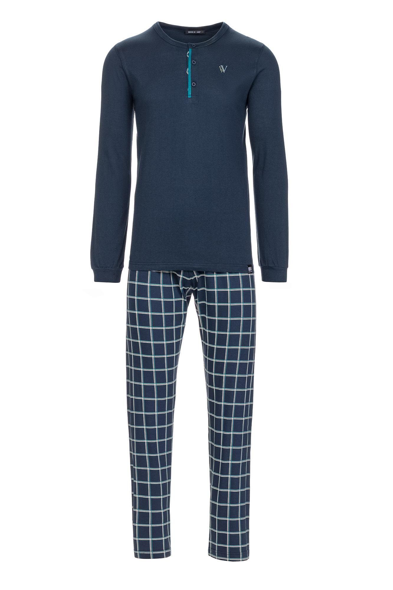 Men's Plaid Pyjamas with Button Placket