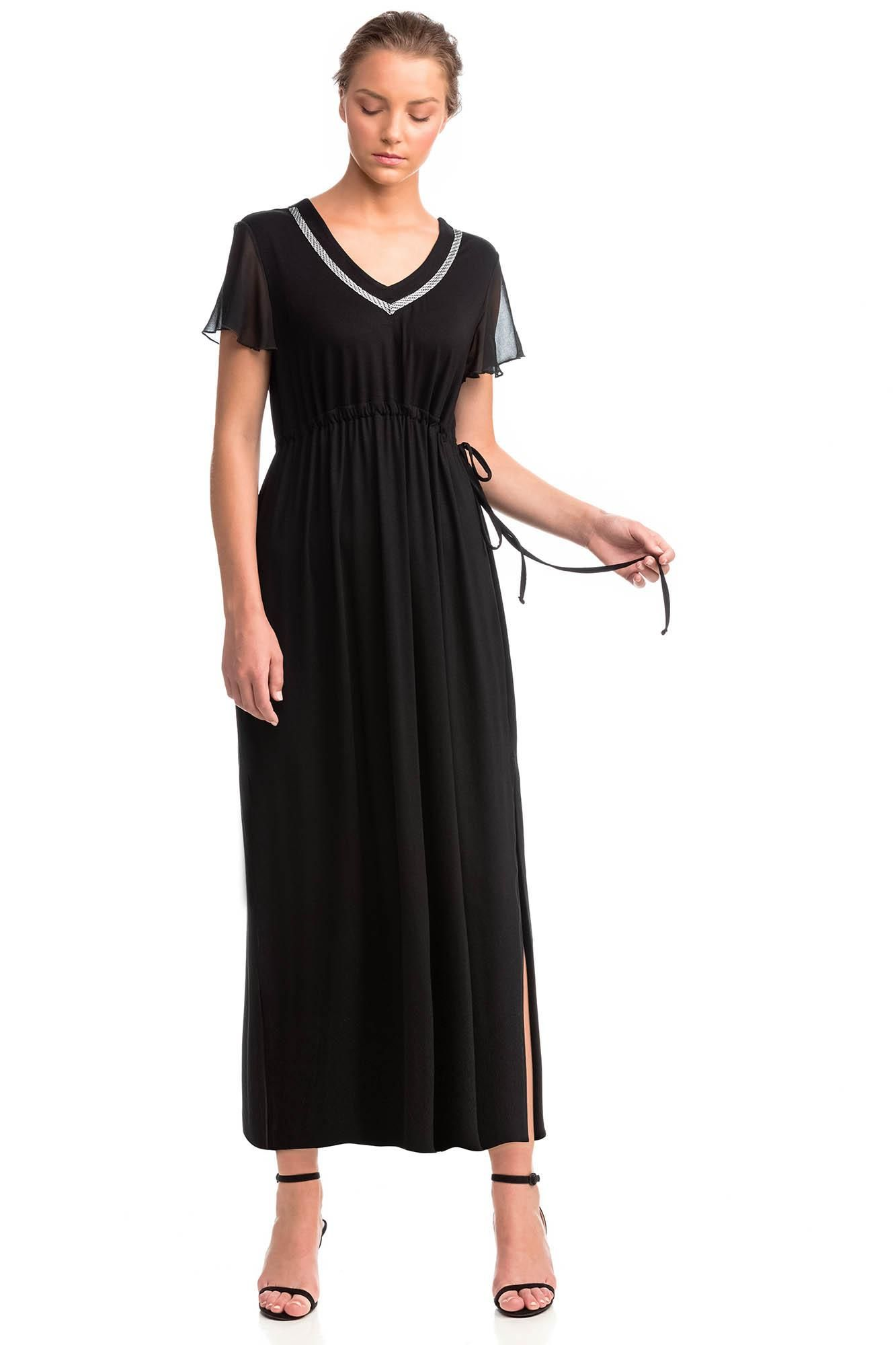 Maxi Dress with Chiffon Sleeves