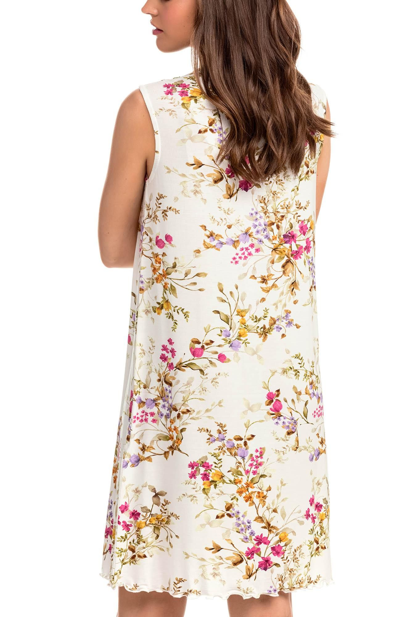 Sleeveless Floral Nightgown with Button Placket