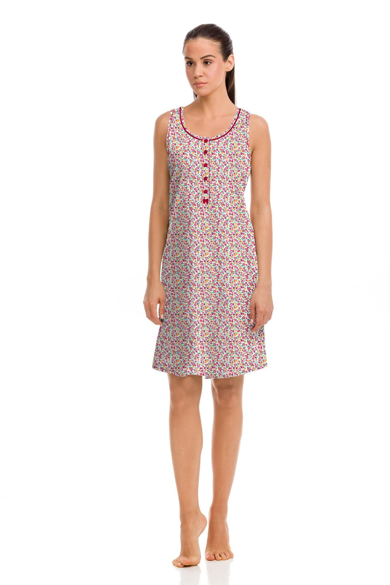Sleeveless Nightgown with Buttons