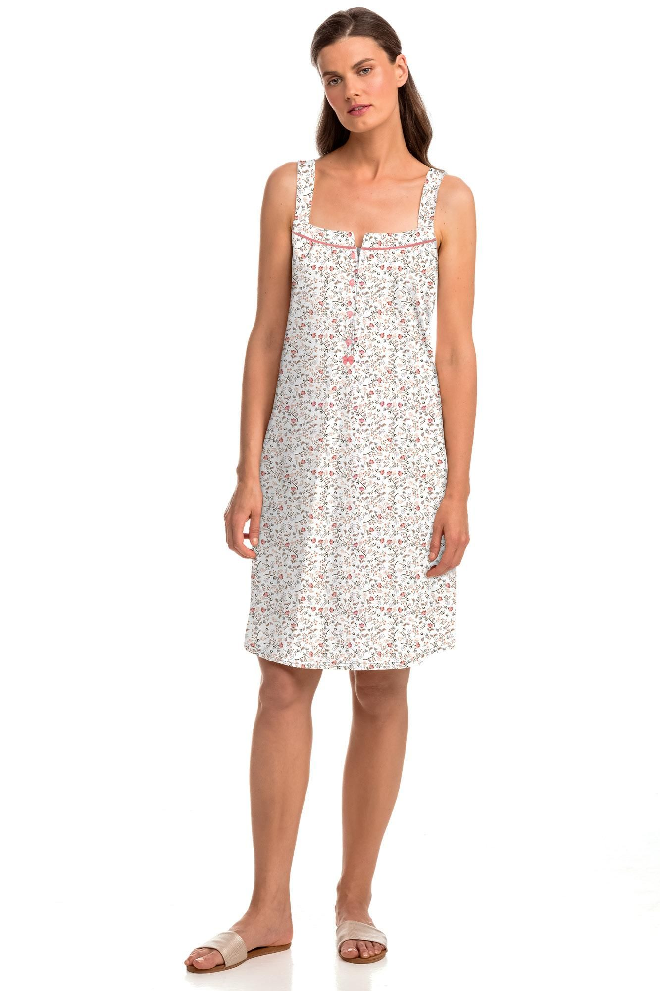 Sleeveless Nightgown with Button Placket